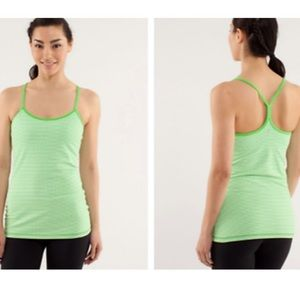 Lululemon Green Checkered Power Y Tank Top